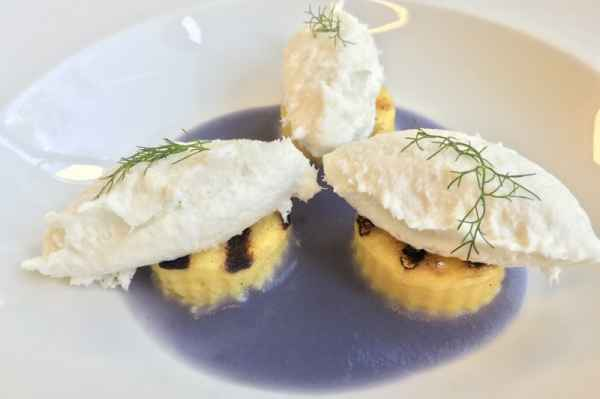 Purple potato cream with grilled polenta and creamed codfish