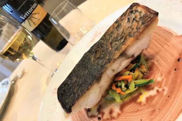 Shi drum  with sauteed vegetable julienne and reduction of red wine and honey
